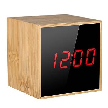 Decdeal Despertador Digital LED de Madera,Reloj de Control de Voz con Pantalla de Fecha/Hora/Temperatura,USB y con Pilas: Amazon.es: Hogar