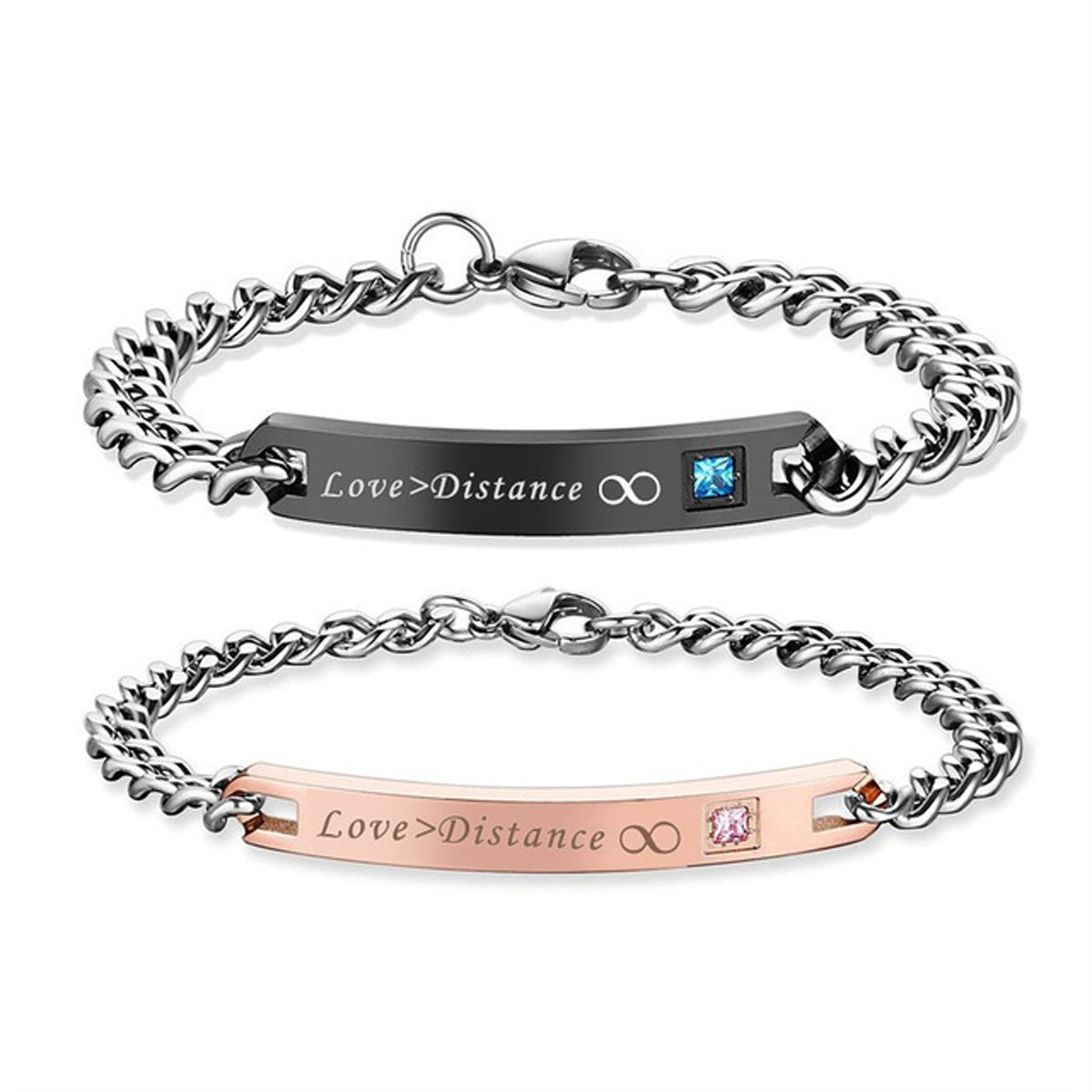 Gift for Lover His Queen Her King Stainless Steel Couple Bracelets For Women Men Jewelry Matching Set (Love > Distance ∞)