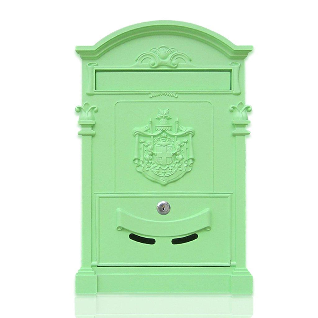 CKH ヨーロッパのヴィラの郵便受け屋外の壁錬鉄製の郵便箱ロック郵便箱レトロ新聞箱抹茶緑 B07DSF1PXN 15253