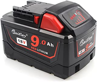 QUPER 18V 9.0Ah Lithium-ion Replacement Battery for Milwaukee M18 48-11-1850 48-11-1852 48-11-1820 48-11-1828 48-11-10 XC Redlithium Cordless Tools Battery