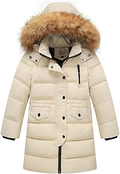 FREE FISHER Girls Dress Coat Quilted Parka Coat Long Padded Bubble Puffer Jacket Winter Outwear