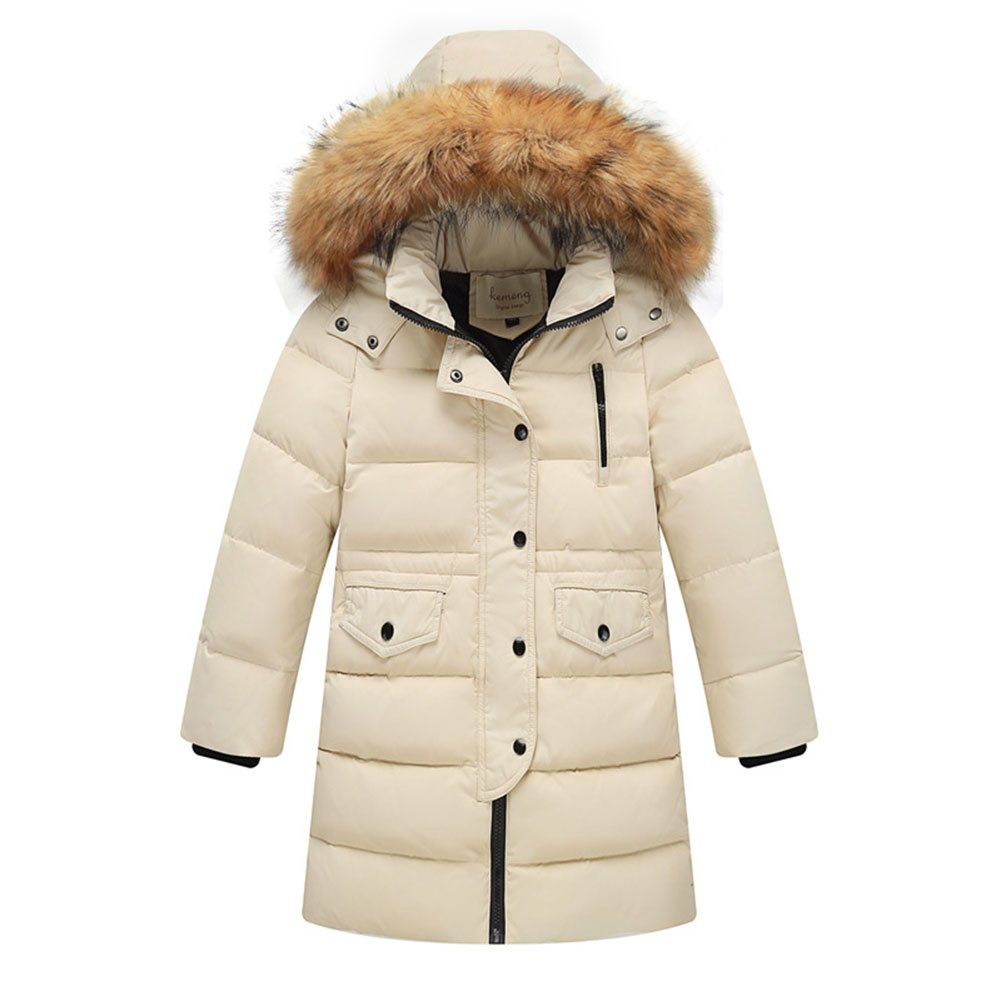Beige 8-9 ans Libre Fisher Enfant Fille Garçon Doudoune Manteau D'hiver épais Capuche Fourrure Col Mi-long