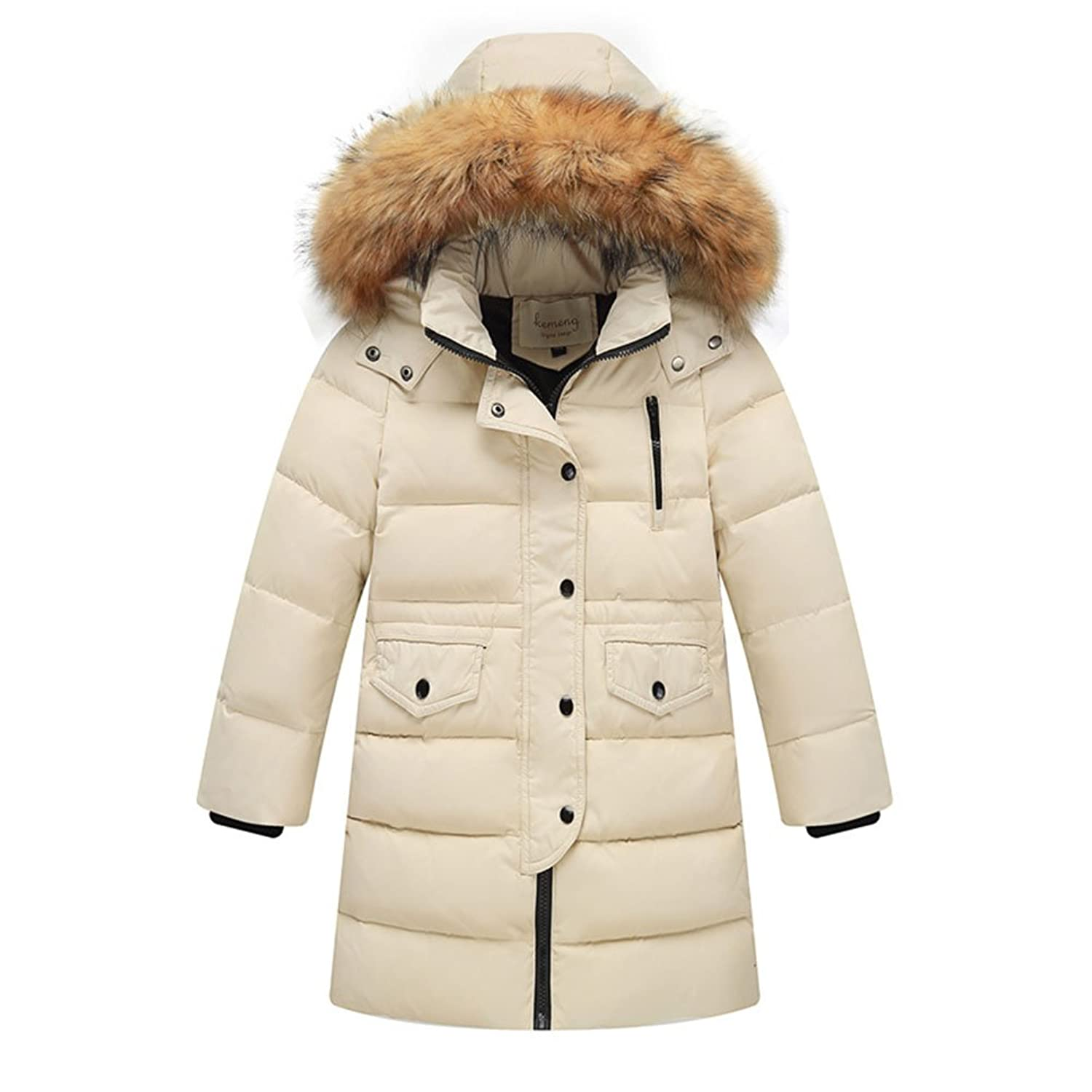 9b5269bd9b1 Quilted down coat featuring beautiful waisted fit  Concealed zipper closure  with snap placket. Zippered hood with detachable faux fur trim