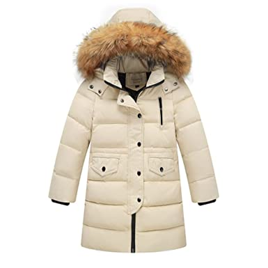 69efe3244203 Image Unavailable. Image not available for. Color  LSERVER Kids Little Big  Girls Boys Winter Parka White Duck Down Coat Jacket with Fur Hood