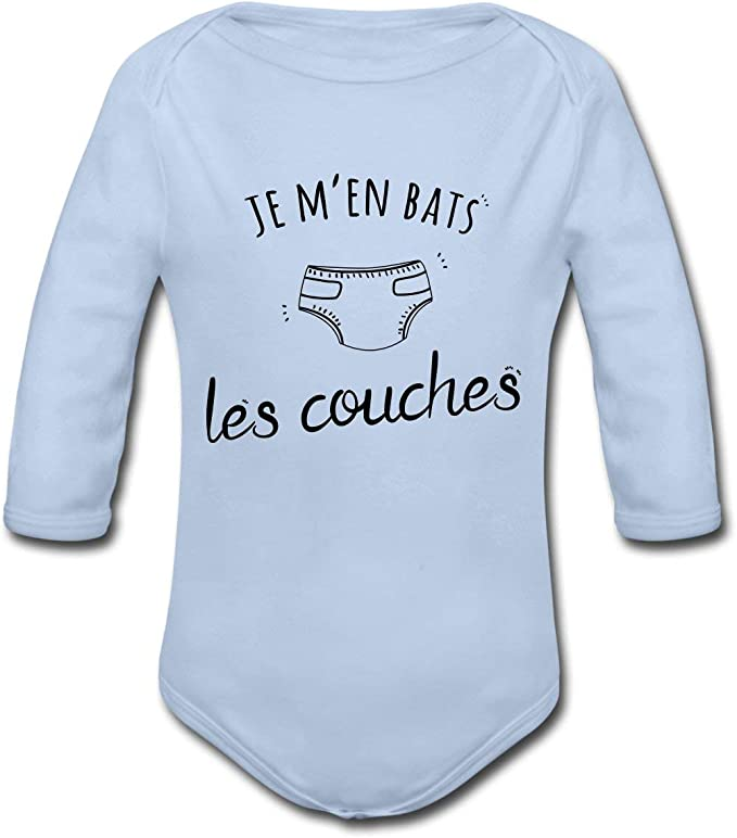 Spreadshirt Je Men Bats Les Couches B/éb/é Body B/éb/é Bio Manches Longues