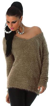 Jela London Damen Pullover weich   flauschig Einheitsgröße (32-38), braun bb57868cdf