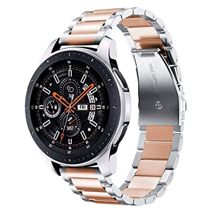 V-MORO Metal Strap Compatible with Galaxy Watch 46mm Bands Silver/Gear S3 Classic Band Rose Gold 22mm Solid Stainless Steel Business Bracelet for ...