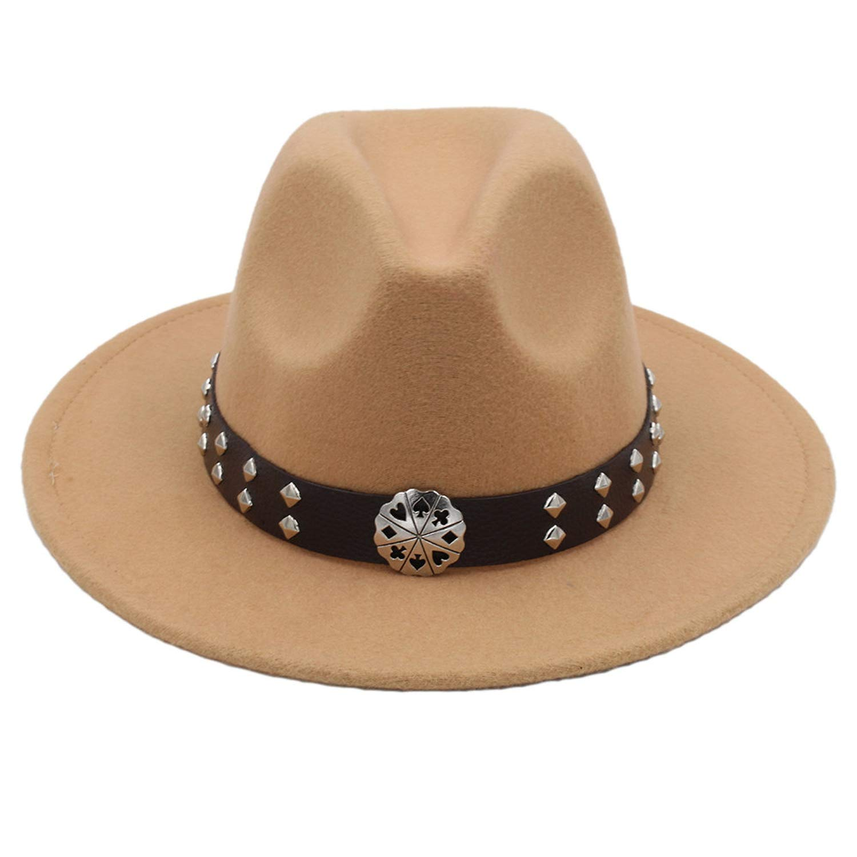 DOSOMI Men Wool Felt Fedora Hat with Wide Brim Jazz Church Godfather Cloche Steampunk Panama Cap