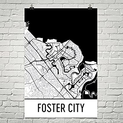 Amazon.com: Foster City CA Map, Foster City Art, Silicon Valley ...