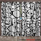 WilliamsDecor Skull Home Patio Outdoor Curtain Conjoined Head Motifs Fantastic Spooky Fossils Motley Dark Sketchy Artwork Print W108 x L84(274cm x 214cm)