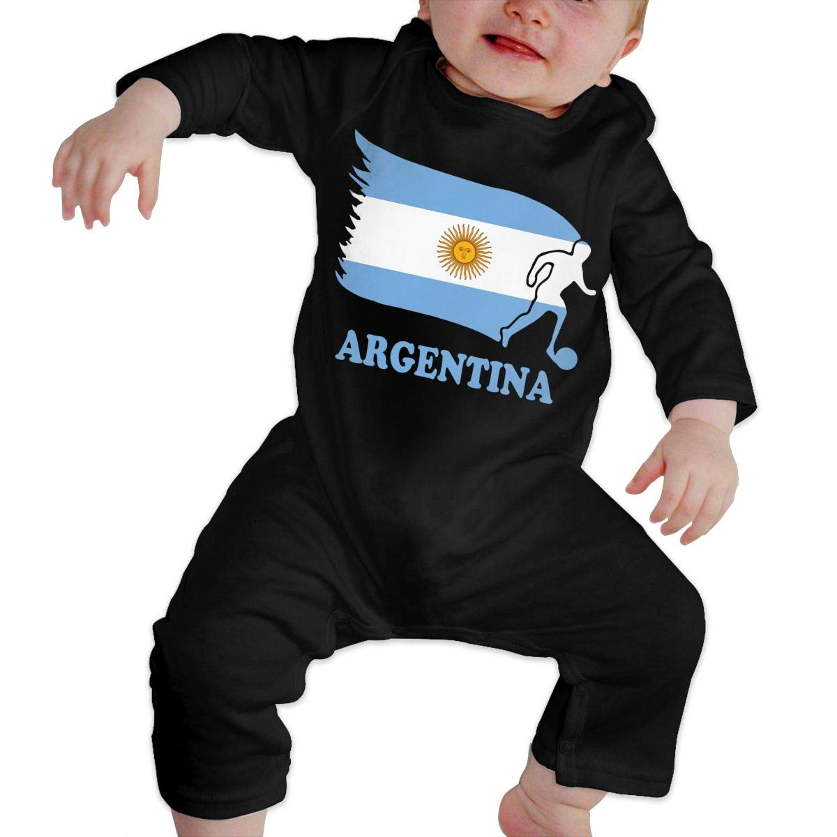 U99oi-9 Long Sleeve Cotton Rompers for Unisex Baby Soft Argentina Football Soccer Flag Sleepwear