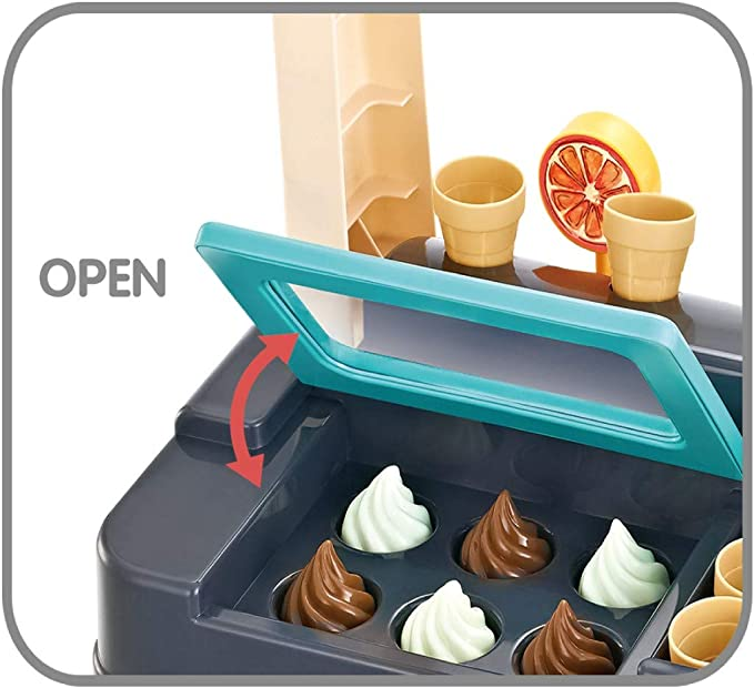 55 Pieces Ice Cream Shop Luxury Pretend Play Grocery Store Playset With Scanners