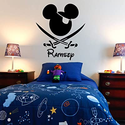 syuonk Mickey Minnie Mouse Wall Art Decal Sticker Pirate Mouse with Personalized Name Kids Boys Room Bedroom Home Decal Decor Wall Art: Home & Kitchen
