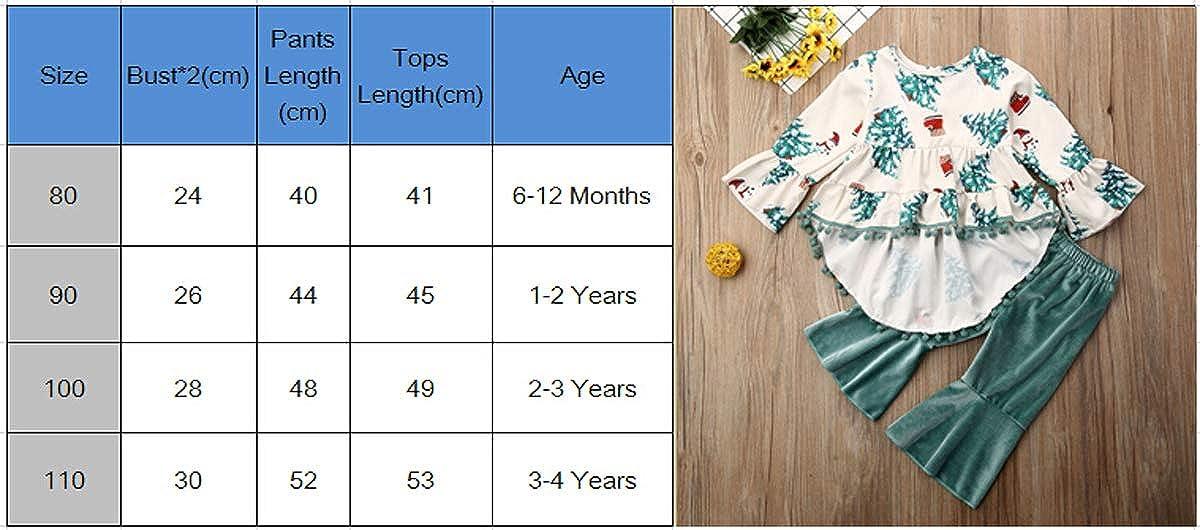 Fall Autunno Set di 2 Pezzi per Bambine con Maglietta e Pantaloni in Velluto e Leggings