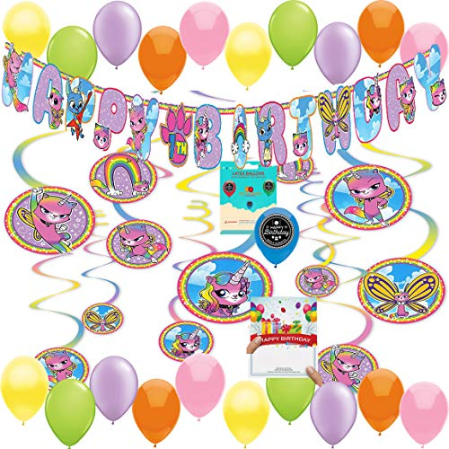 Rainbow Butterfly Unicorn Kitty Party Supplies Birthday Room Decorating Bundle of Hanging Swirls Add Your Own Age Banner Birthday Card Decoration Kit ()