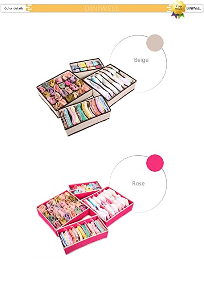 Drawer Organizer -4PCS Storage Boxes For Ties Socks Shorts Bra Underwear Divider Drawer Lidded Closet