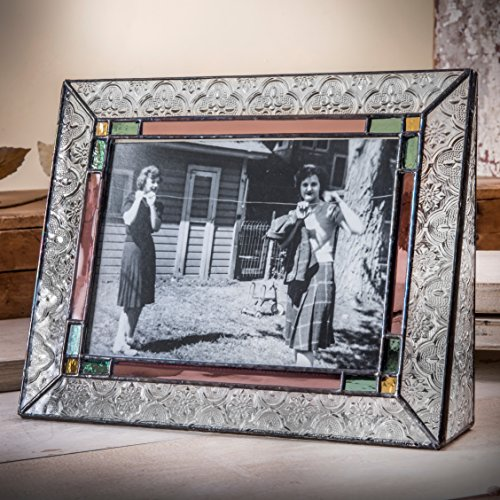 J Devlin Pic 137-57H 5x7 Picture Frame Stained Glass Sage Green Rose Amber Horizontal Photo Multi Color (Frame Sage Photo)