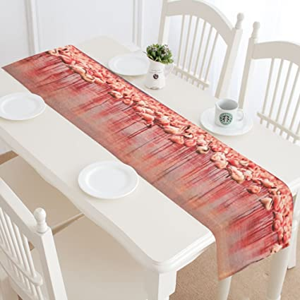 Amazoncom Silly Meow Custom Table Runners African Flamingos In The - Custom dining room table runners