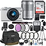 Canon EOS M100 Mirrorless Digital Camera w/EF-M 15-45mm f/3.5-6.3 & EF-M 55-200mm f/4.5-6.3 IS STM Bundle White + Canon Gadget Bag + 32GB Memory + Professional Accessories - Filters, Macros & More.