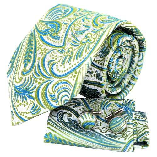Sea green Paisleys men ties Silver pattern birthday gift silk tie Cufflinks hanky set H6049  Green