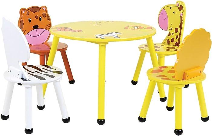 Bentley - Set de Muebles Infantiles de Madera - Mesa y 4 sillas - Motivo Safari: Amazon.es: Hogar