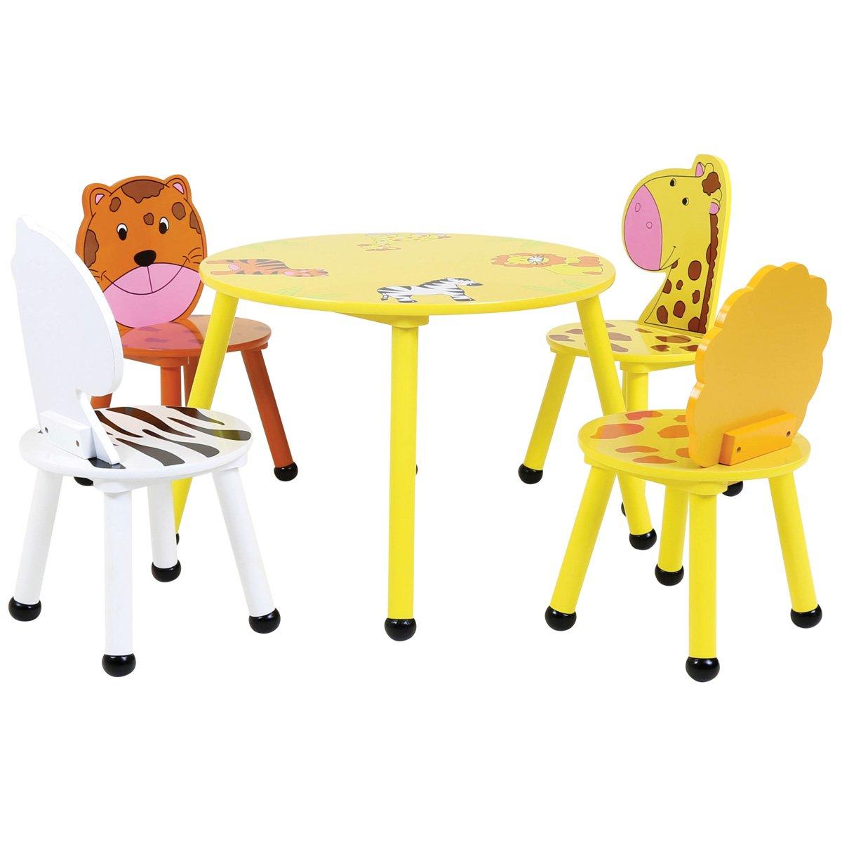 Bentley Kids - Kinder Sitzgruppe - Tisch & 4 Stühle - Safari-Design - Holz - Für Kinderzimmer