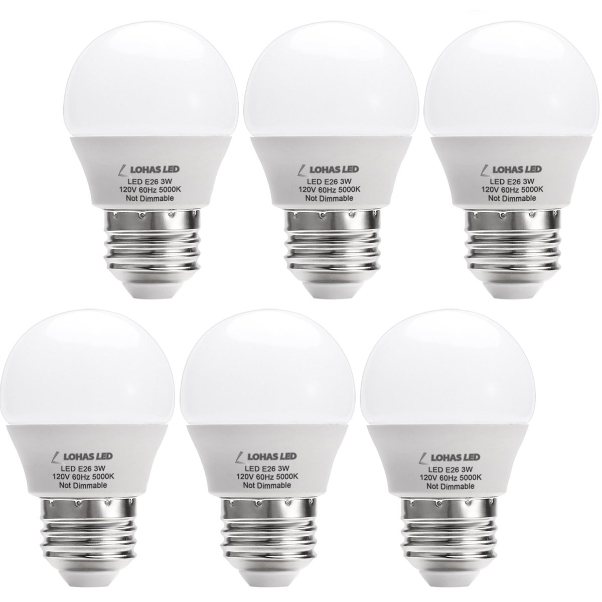 LOHAS LH-BL-3W-5000k-6 G14(with UL Listed) 3W (25W Equivalent), LED Tiny, Small Night Bulbs 120V for Bedroom Ceiling Fan Table Lamp Light, Not-Dim 6PACK, Daylight 5000K, E26 Base