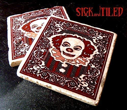 Drinktime With Pennywise Tumbled Marble Coaster Single, Set of 2 or Set of 4 Stephen Kings IT