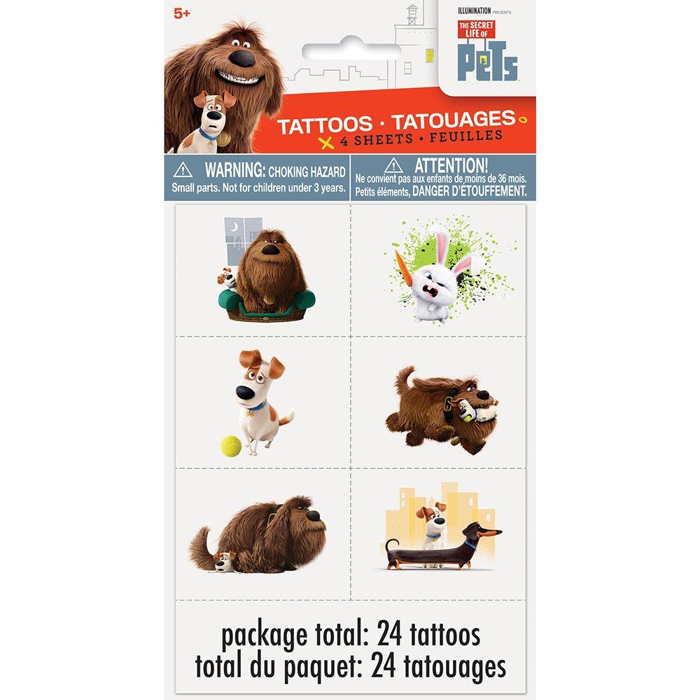The Secret Life of Pets Tattoos, 24ct Unique 43970