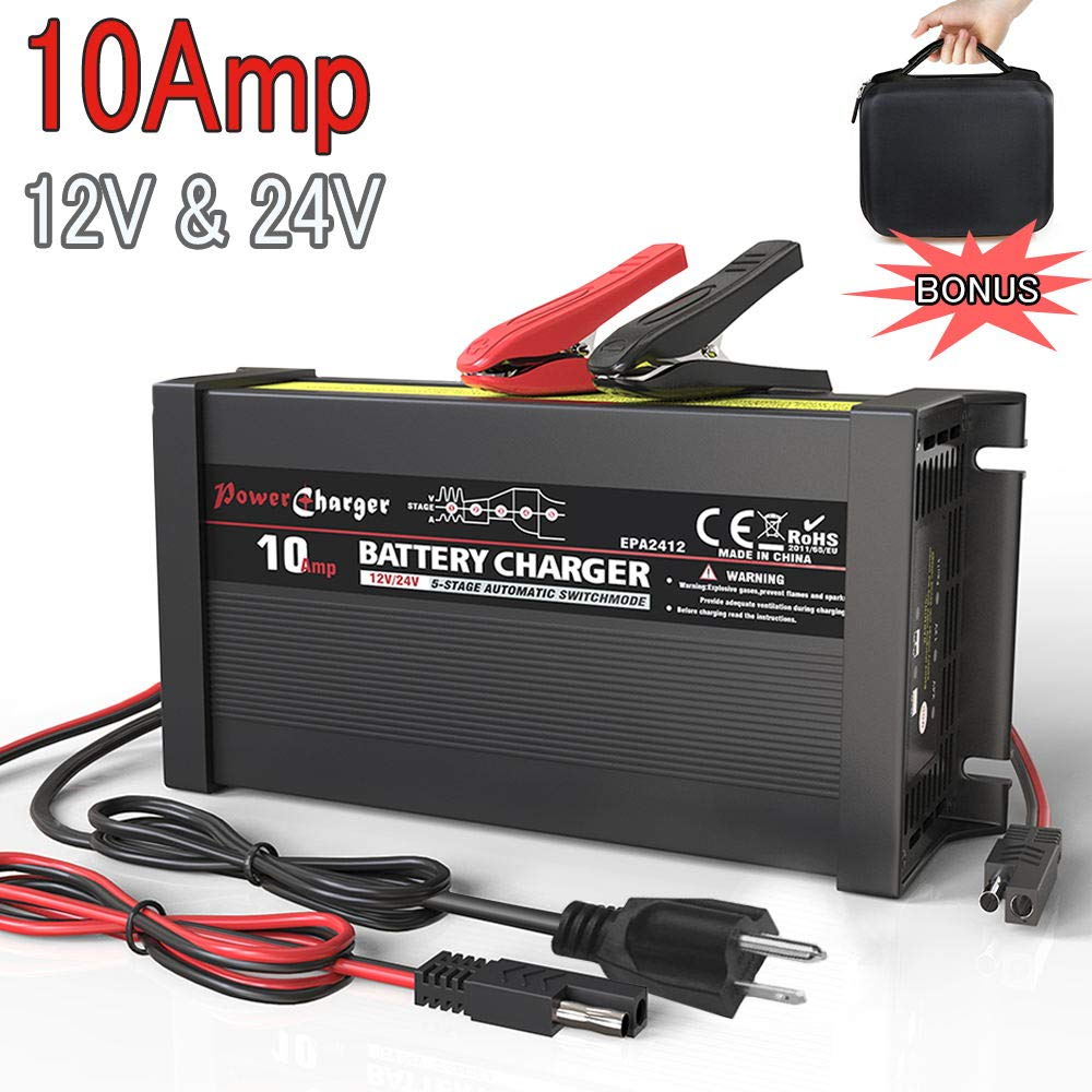 LST 12V 24V Truck Battery Charger Maintainer Auto Trickle Deep Cycle Charging for Automotive Car Marine Boat RV SLA ATV AGM Gel Cell WET Lead Acid Batteries by LEICESTERCN