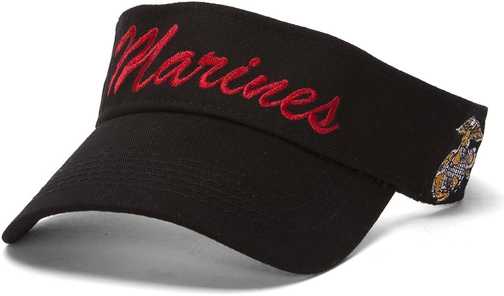 Marines Script Emblem Black Adjustable Visor