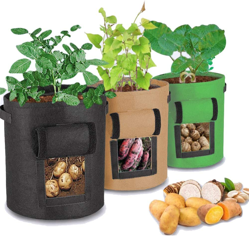 Unique-Fit Potato Grow Bag 3 Packs Update Garden Vegetables Planter Bags with 4 Drain Holes and Velcro Window, 7 Gallon Potato Bag Planter Black Green Brown