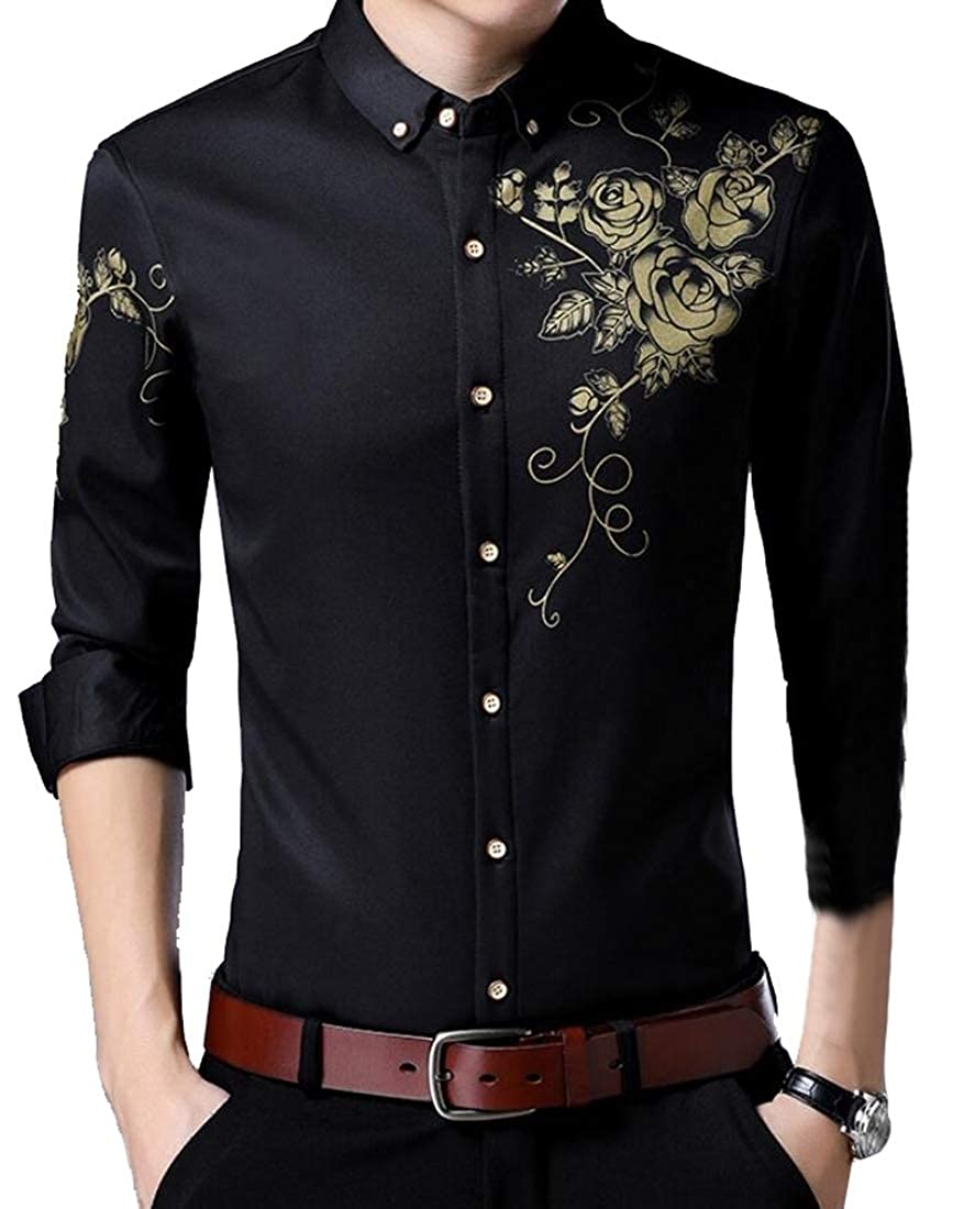 Generic Mens Fashion Printed Casual Long Sleeve Button Down Shirt Top