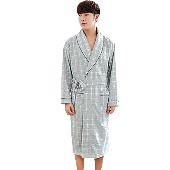 Men\'s Waffle Robe, Lightweight Cotton Shower Long Bathrobe for Sleep ...