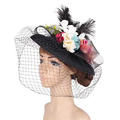 1d27040b9200f YONQUIL Fashion Ivory Wedding Hats 30CM Fascinators with veils for Cute  Bride SYF173 (Black)