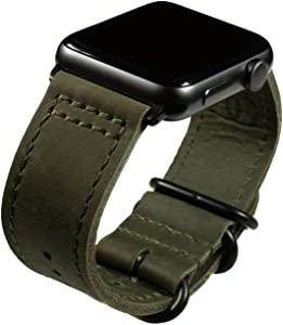 Grit & Grazia Premium Leather NATO Apple Watch Band Compatible with 42mm 44mm Series 6 5/4/3/2/1 and SE iWatch, Apple Watch Replacement Strap (Olive Drab, 42/44mm)