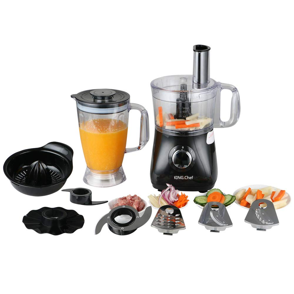 KING.Chef Food Processor 12-Cup Vegetable Chopper,Vegetable Spiral Slicer Multi-Function Food Processor Attachment-3 Speed Options, 3 Chopping Blades & 1 Disc, Safety Interlocking Design 500W, Black,Kitchenaid Food Processor Attachment