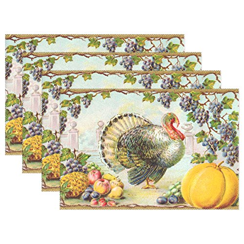 Naanle Holiday Placemats Set of 4, Thanksgiving Turkey Pumpkin Heat-Resistant Washable Table Place Mats for Kitchen Dining Table Decoration