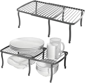 mDesign Adjustable, Expandable Wire Metal Kitchen Cabinet, Pantry, Countertop Organizer Storage Shelf - for Dishes, Dinnerware, Cookware, Spices, Mugs, Cups, Canned Food, 4 Pieces - Graphite Gray