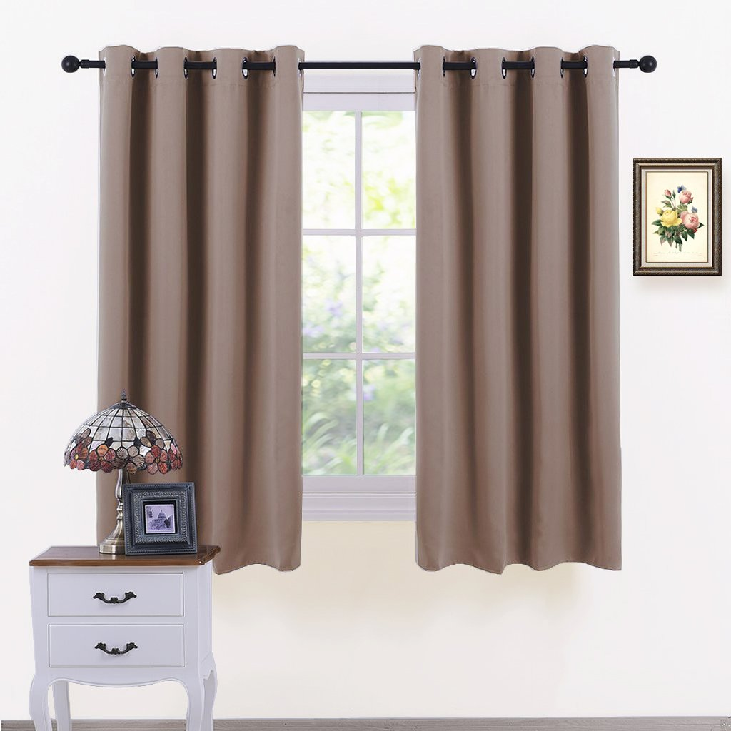 PONY DANCE Home Decoration Panels - Light Block Curtains Elegant Ring Top Room Darkening Window Coverings Energy Saving Curtains Draperies for Dining Room, Wide 52 by Long 54 inches, Mocha, 2 Pcs