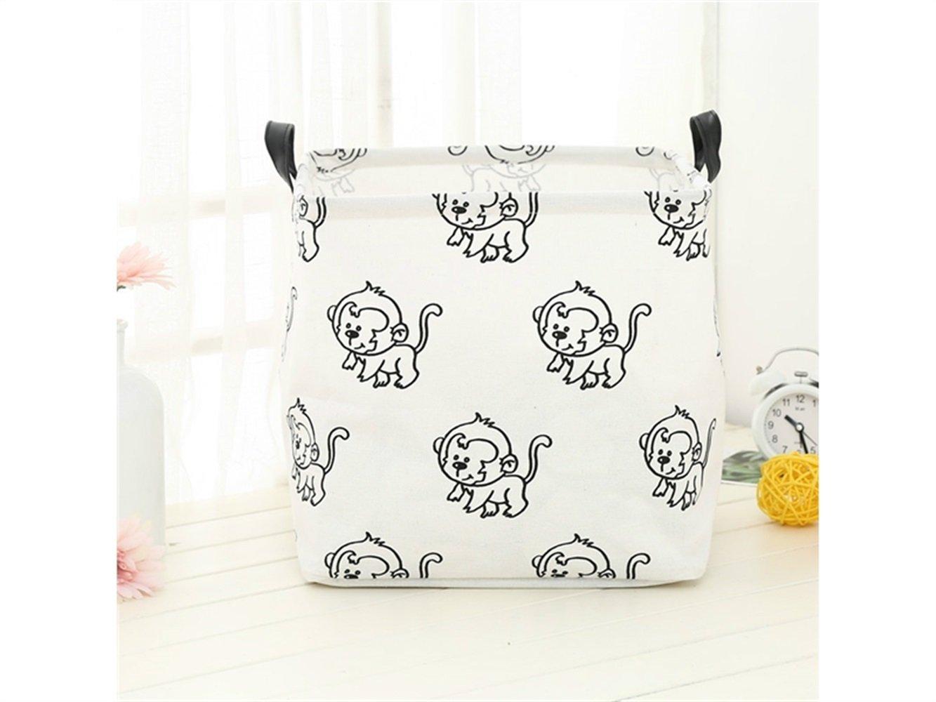 Gelaiken Lightweight Monkey Pattern Storage Box Laundry Basket Cotton and Linen Storage Box (White)