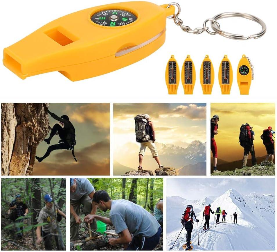 Alomejor1 5PCS 4 en 1 Silbato con br/újula Term/ómetro Lupa para Viajes Camping Senderismo Escalada