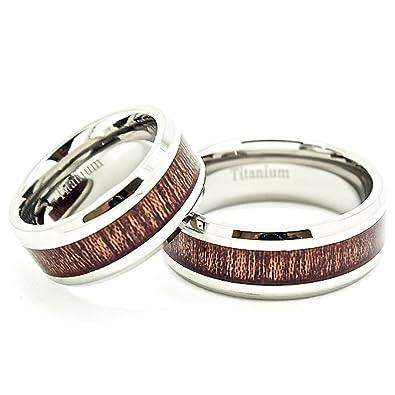 matching 8mm titanium wedding bands with wood grain inlay us sizes 5 14 - Titanium Wedding Rings