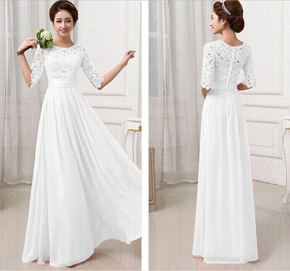 Spitze lang chiffon weißes abendkleid mit Zierlich Abiballkleider
