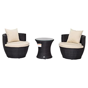 Galvanized Patio Furniture.Outsunny 3pc Stacking Outdoor Rattan Wicker Sofa Set With Table Galvanized Steel Frame Chat Seating Patio Furniture Deep Coffee
