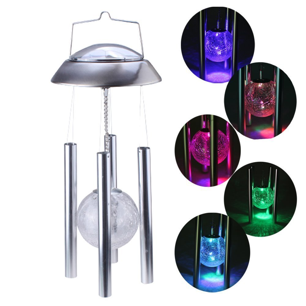 Amazon.com: Solar Powered Color changing Light Wind Chimes Rotating ...