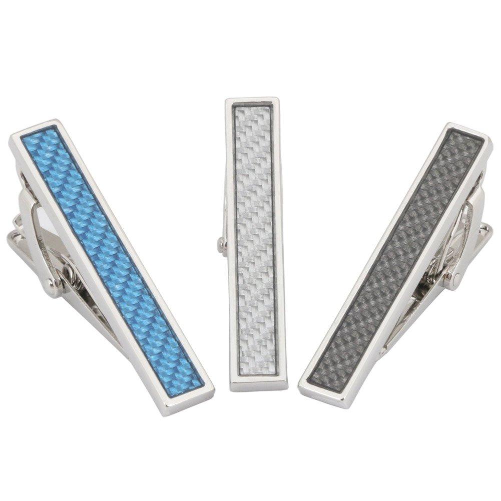 3 Pc Mens Tie Bar Clip Set Trendy Skinny 1.5 Inch, Gift Box