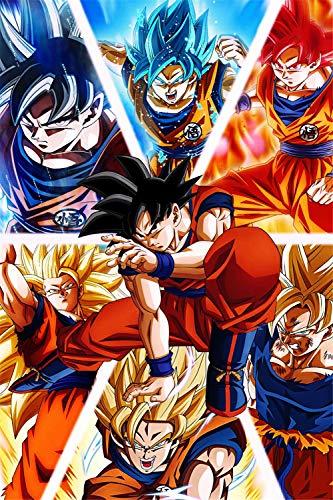 Artwcm Goku DragonBall DragonBall Super Saiyan Oil Paintings Modern Canvas Prints Artwork Printed on Canvas Wall Art for Home Office Decorations-706 (Unframed,12x18inch) (Goku Super Saiyan Poster)