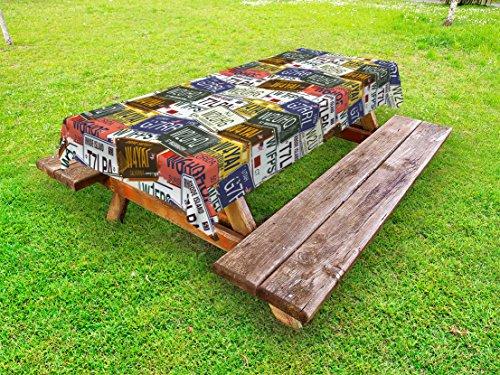 Ambesonne USA Outdoor Tablecloth, Retro American Auto License Plates Utah Washington Rhode Island North Carolina Print, Decorative Washable Picnic Table Cloth, 58 X 104 Inches, ()