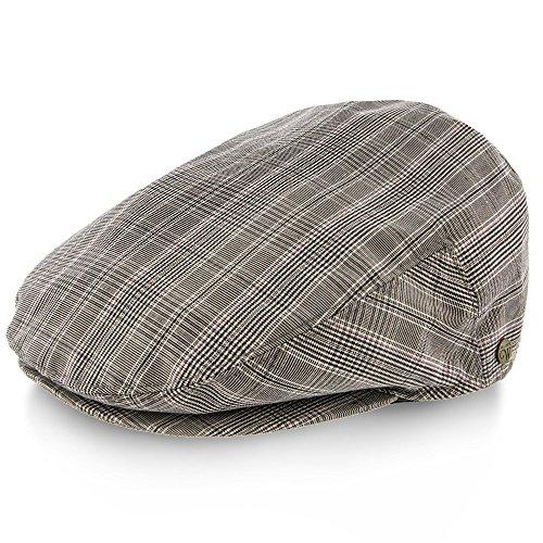 Linen Plaid Cap (Clubhouse - Walrus Hats Grey & Brown Plaid Linen Ivy Cap)